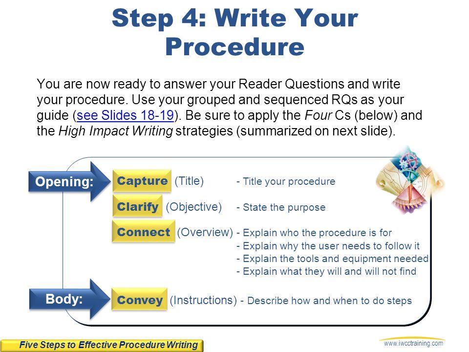 Step 4: Write Your Procedure
