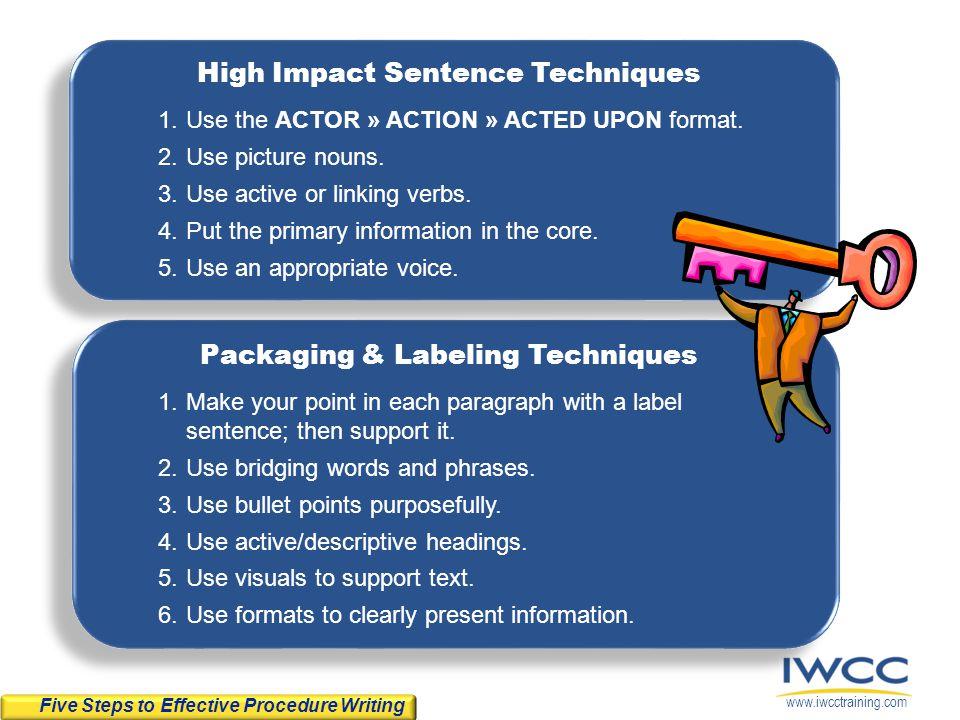 High Impact Sentence Techniques Packaging & Labeling Techniques