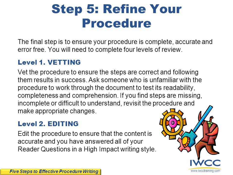 Step 5: Refine Your Procedure