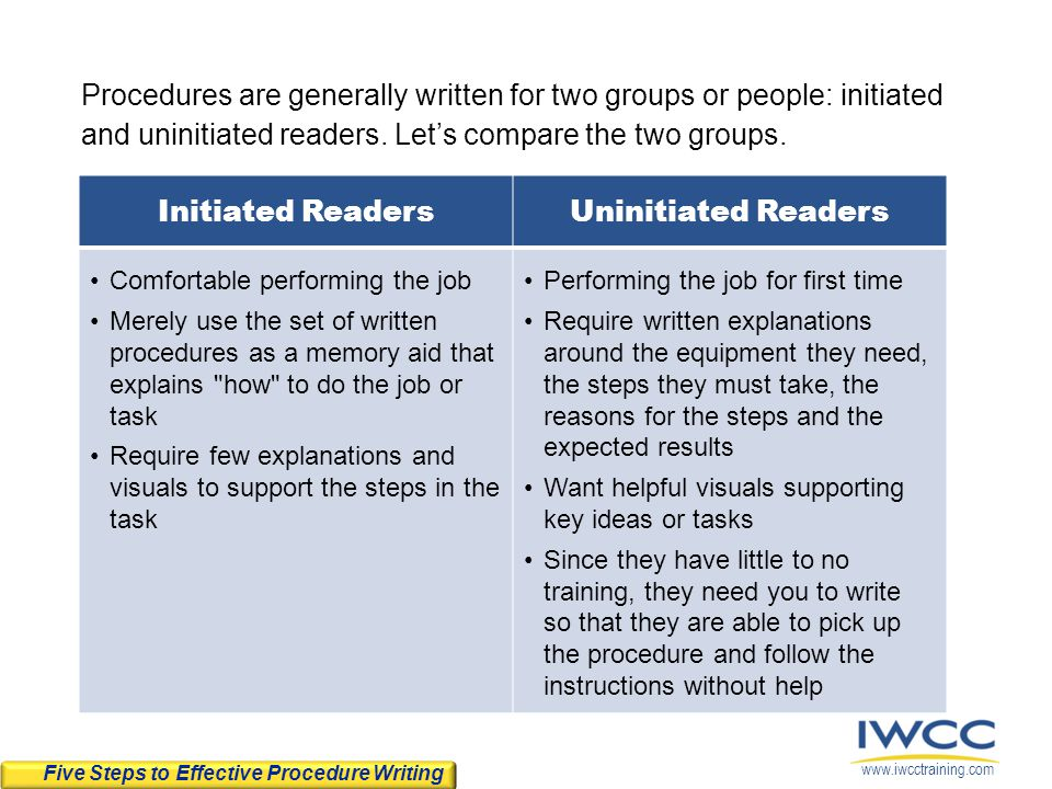 Procedures are generally written for two groups or people: initiated and uninitiated readers. Let's compare the two groups.