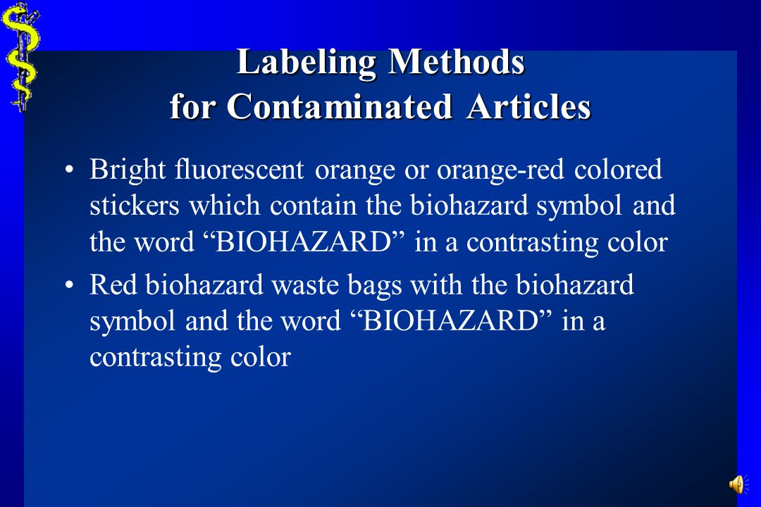 Labeling Methods for Contaminated Articles