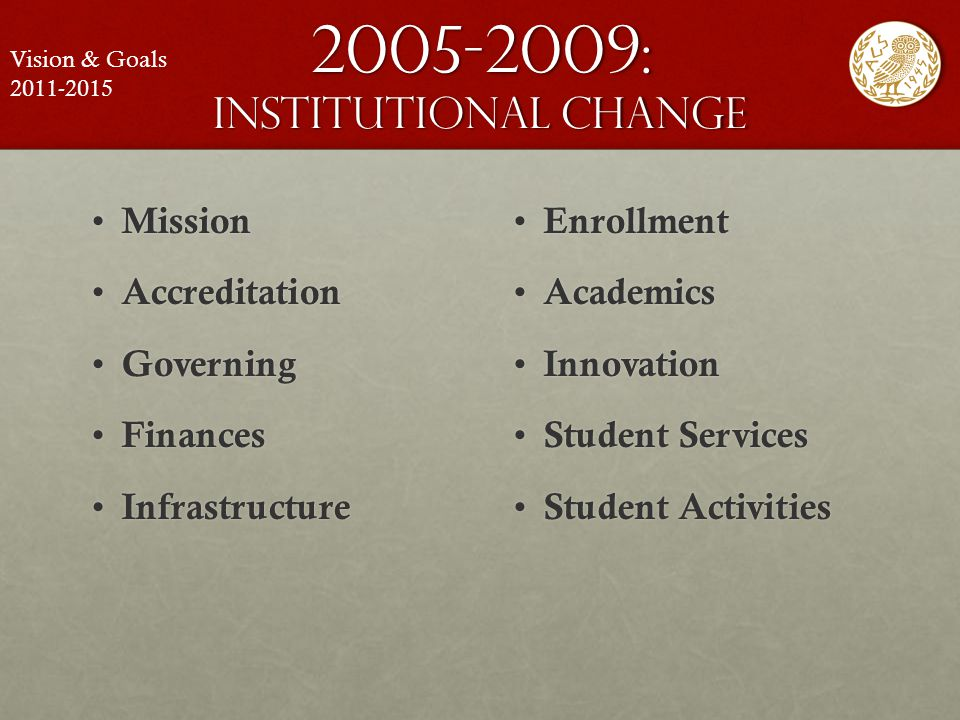 2005-2009: institutional change