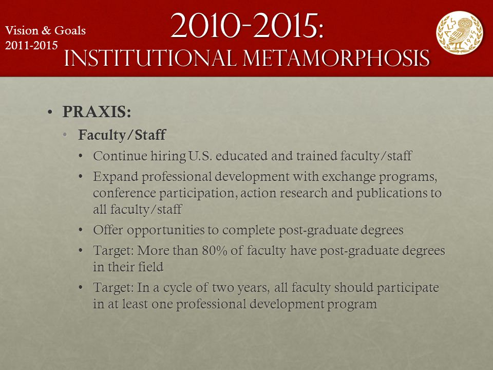 2010-2015: institutional metamorphosis