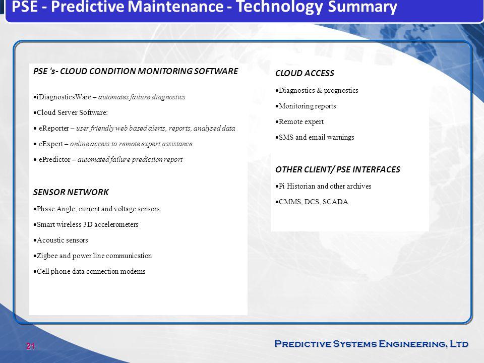 PSE - Predictive Maintenance - Technology Summary