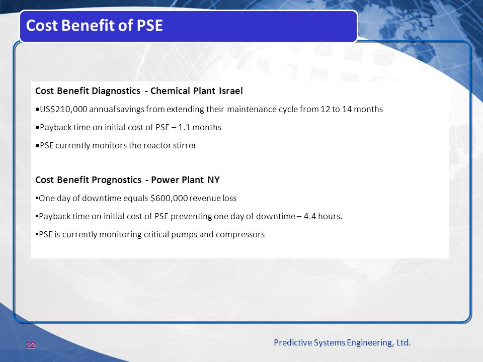 Cost Benefit of PSE Cost Benefit Diagnostics - Chemical Plant Israel