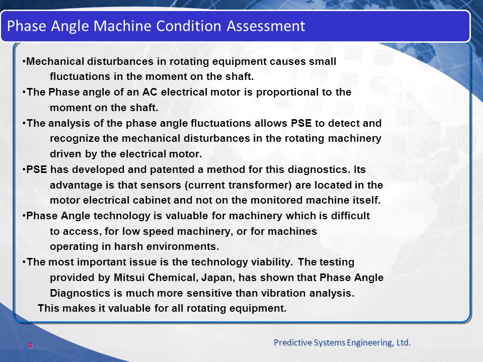 Phase Angle Machine Condition Assessment