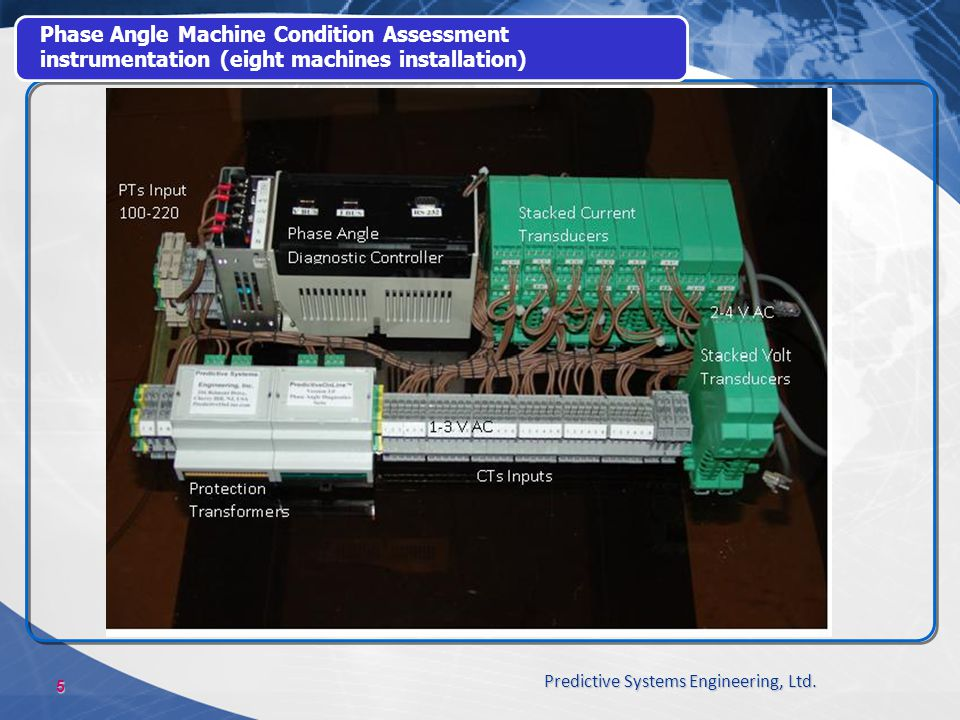 Phase Angle Machine Condition Assessment instrumentation (eight machines installation)