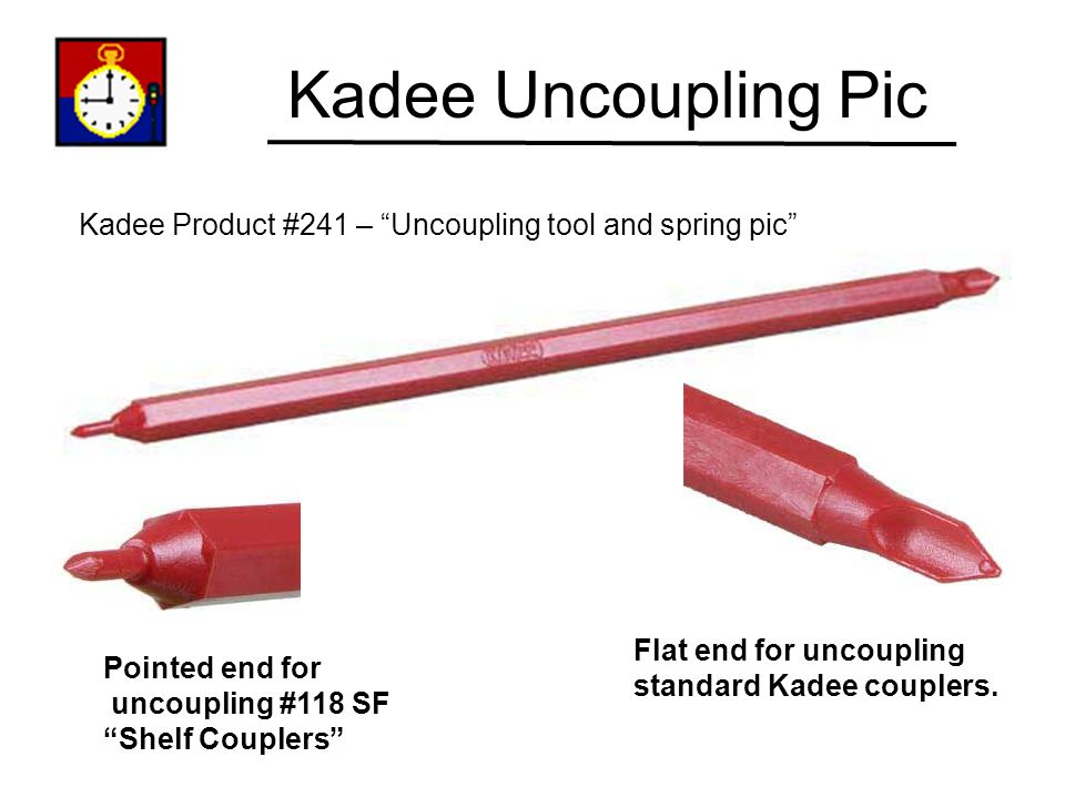 Kadee Uncoupling Pic Kadee Product #241 – Uncoupling tool and spring pic Flat end for uncoupling.