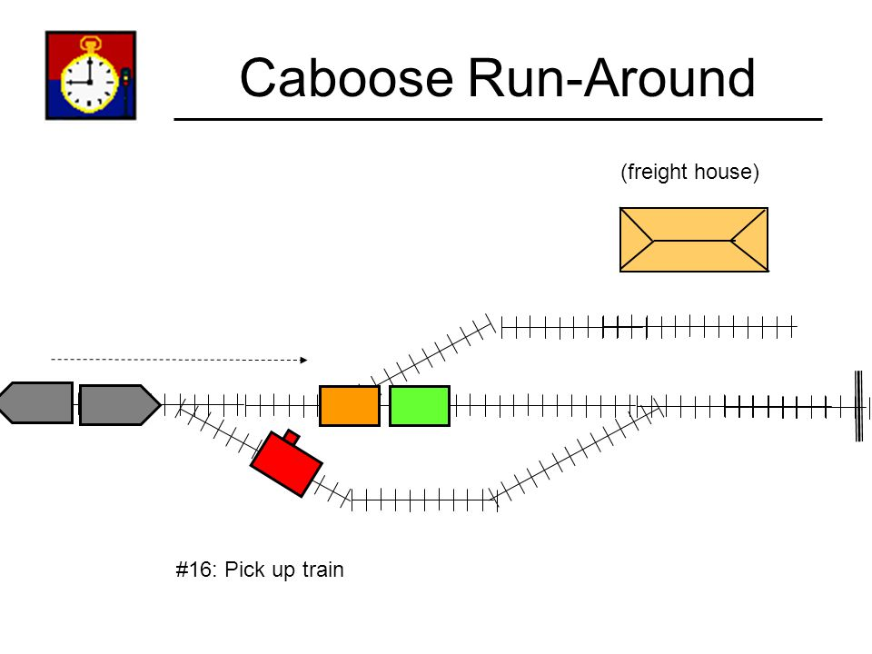 Caboose Run-Around (freight house) #16: Pick up train