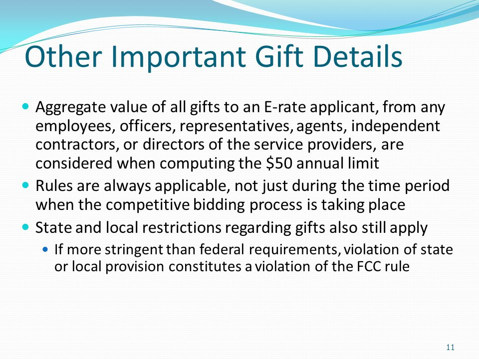 Other Important Gift Details