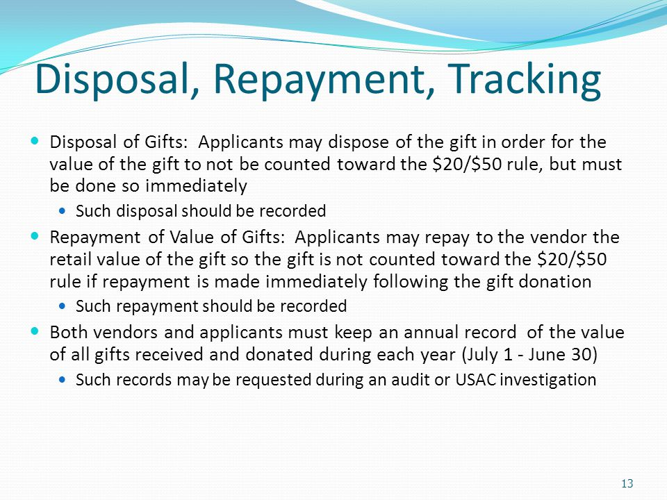 Disposal, Repayment, Tracking