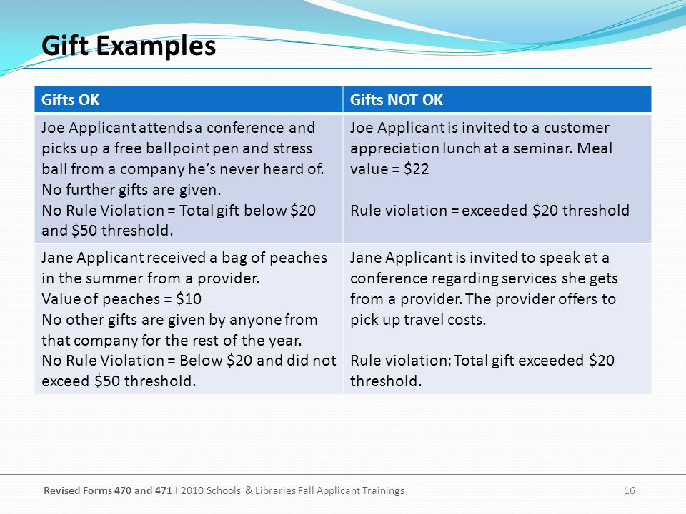 Gift Examples Gifts OK Gifts NOT OK