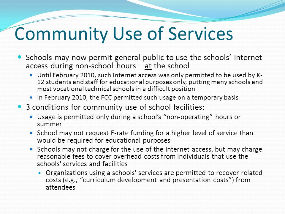 Community Use of Services