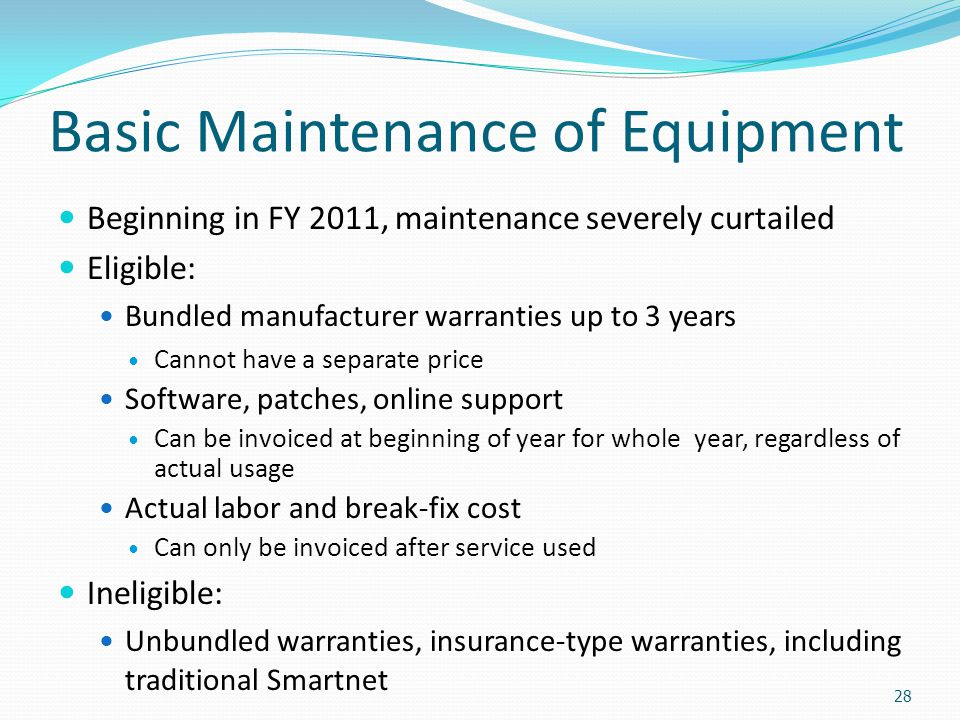 Basic Maintenance of Equipment