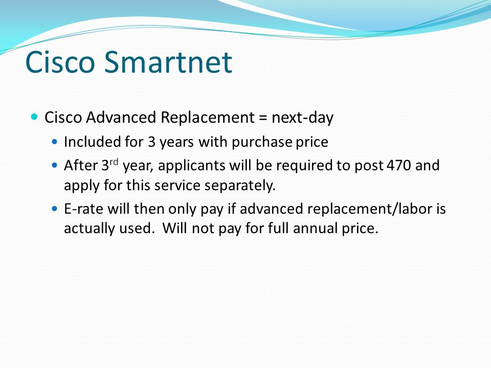 Cisco Smartnet Cisco Advanced Replacement = next-day