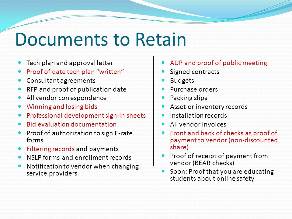 Documents to Retain Tech plan and approval letter
