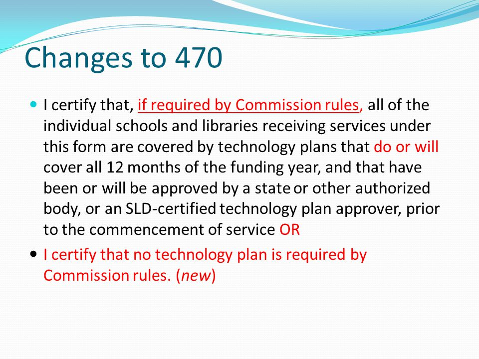 Changes to 470