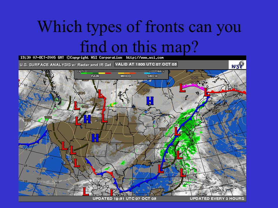 Which types of fronts can you find on this map