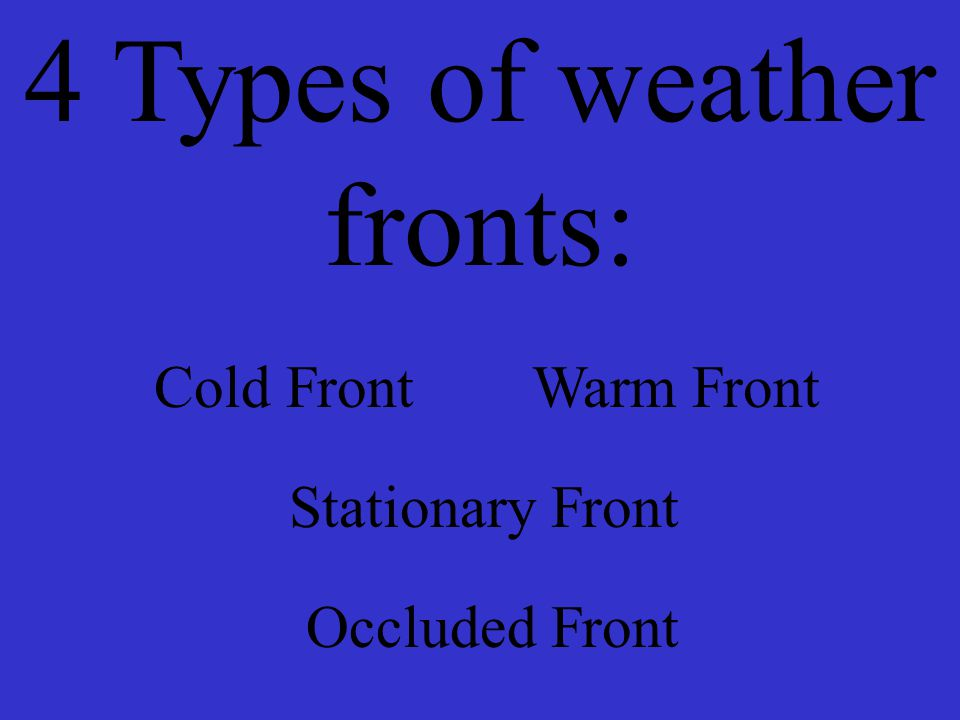 4 Types of weather fronts:
