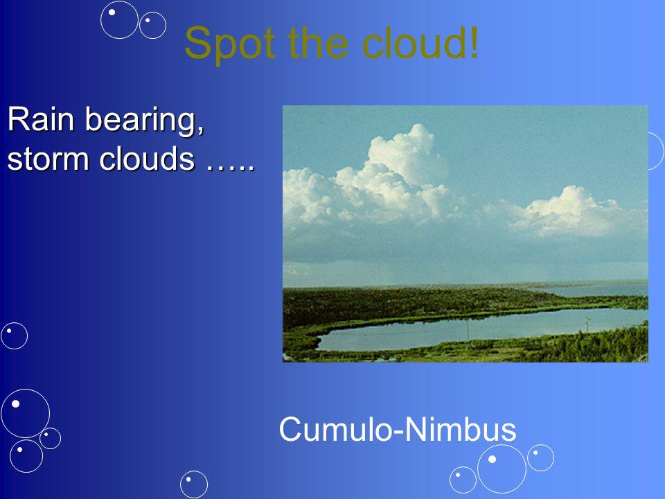 Spot the cloud! Rain bearing, storm clouds ….. Cumulo-Nimbus