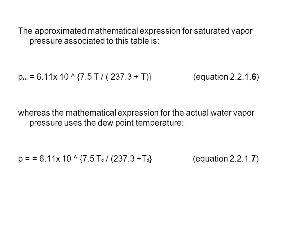 The approximated mathematical expression for saturated vapor pressure associated to this table is: