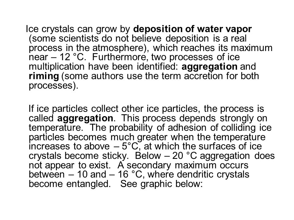 Ice crystals can grow by deposition of water vapor (some scientists do not believe deposition is a real process in the atmosphere), which reaches its maximum near – 12 °C. Furthermore, two processes of ice multiplication have been identified: aggregation and riming (some authors use the term accretion for both processes).