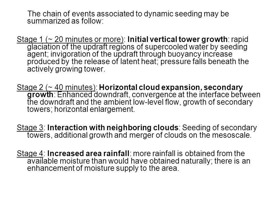 The chain of events associated to dynamic seeding may be summarized as follow: