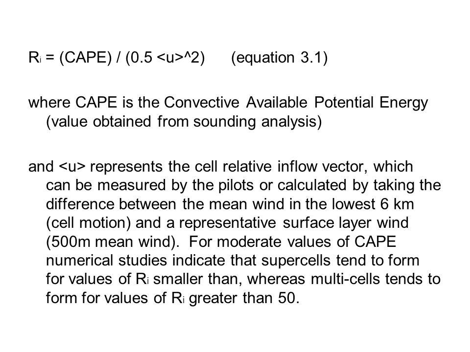Ri = (CAPE) / (0.5 <u>^2) (equation 3.1)