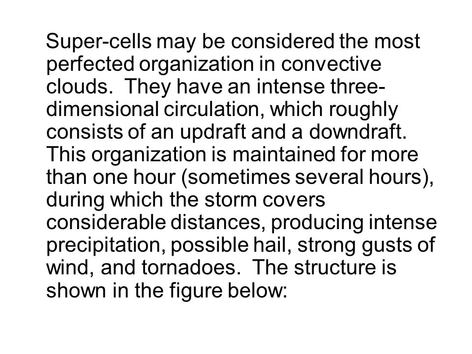 Super-cells may be considered the most perfected organization in convective clouds.