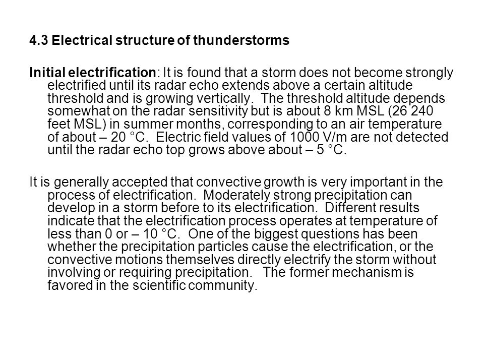 4.3 Electrical structure of thunderstorms
