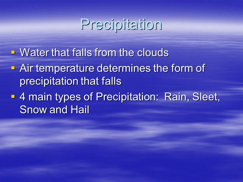 Precipitation Water that falls from the clouds
