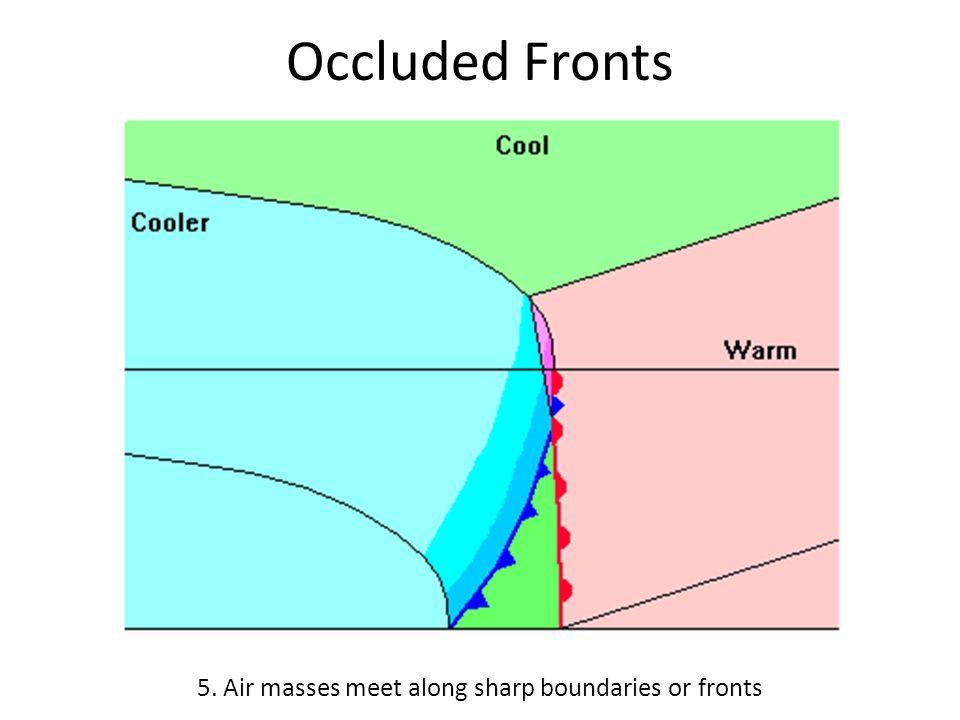 5. Air masses meet along sharp boundaries or fronts