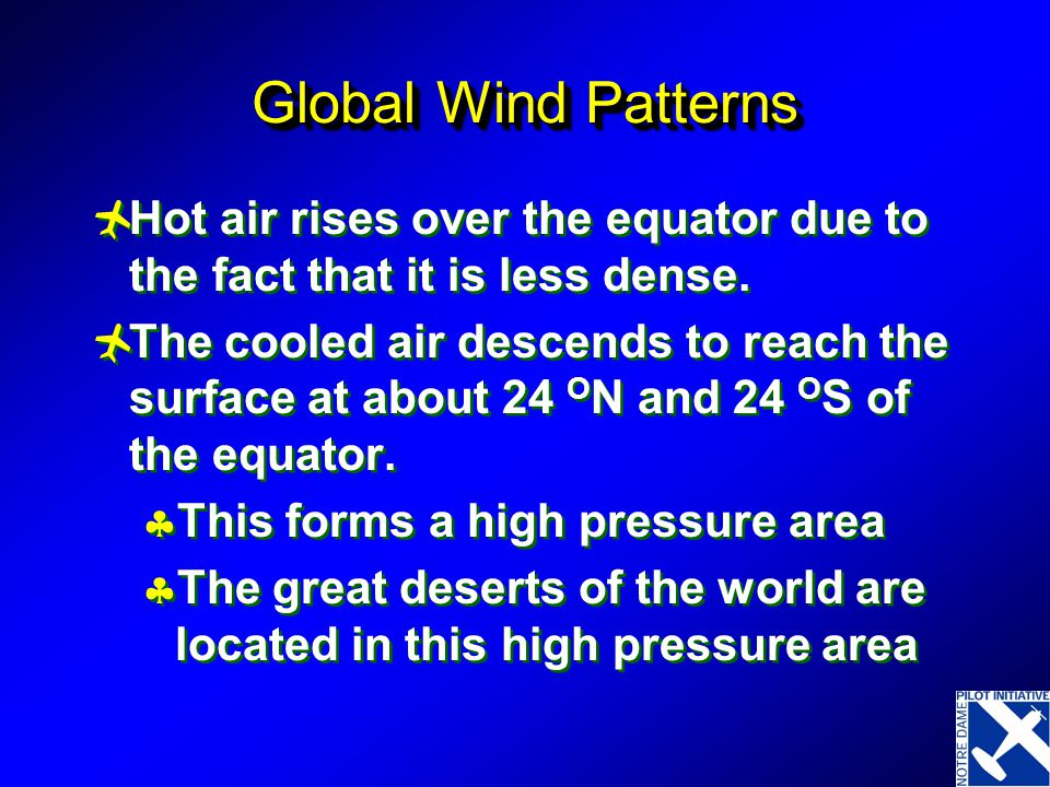 Global Wind Patterns Hot air rises over the equator due to the fact that it is less dense.