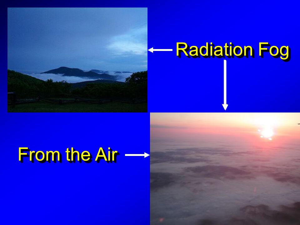 Radiation Fog From the Air Radiation found on calm nights,