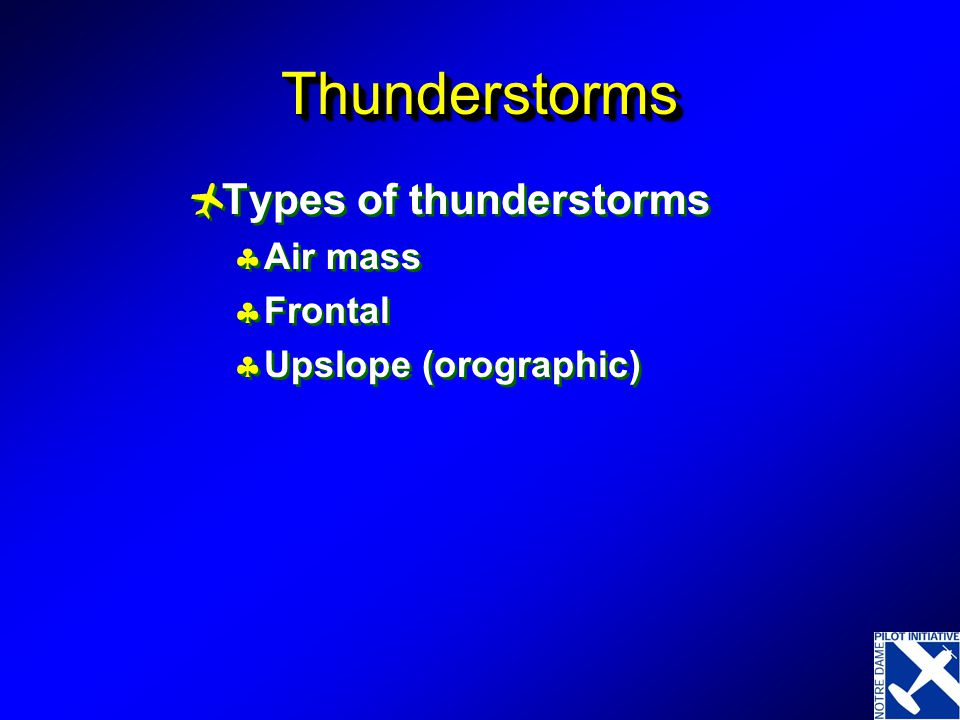 Thunderstorms Types of thunderstorms Air mass Frontal