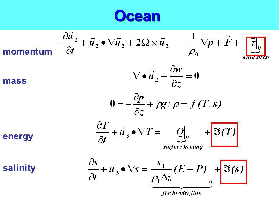 Ocean momentum mass energy salinity