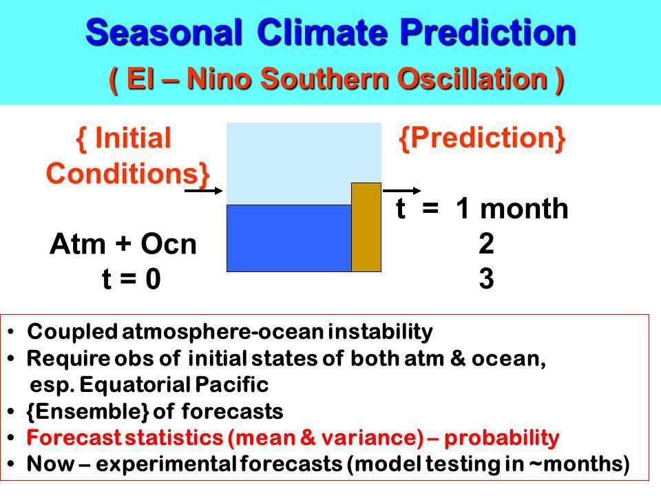 Seasonal Climate Prediction ( El – Nino Southern Oscillation )