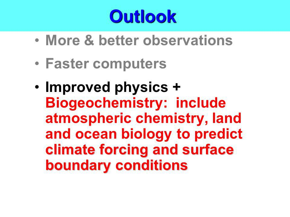 Outlook More & better observations Faster computers