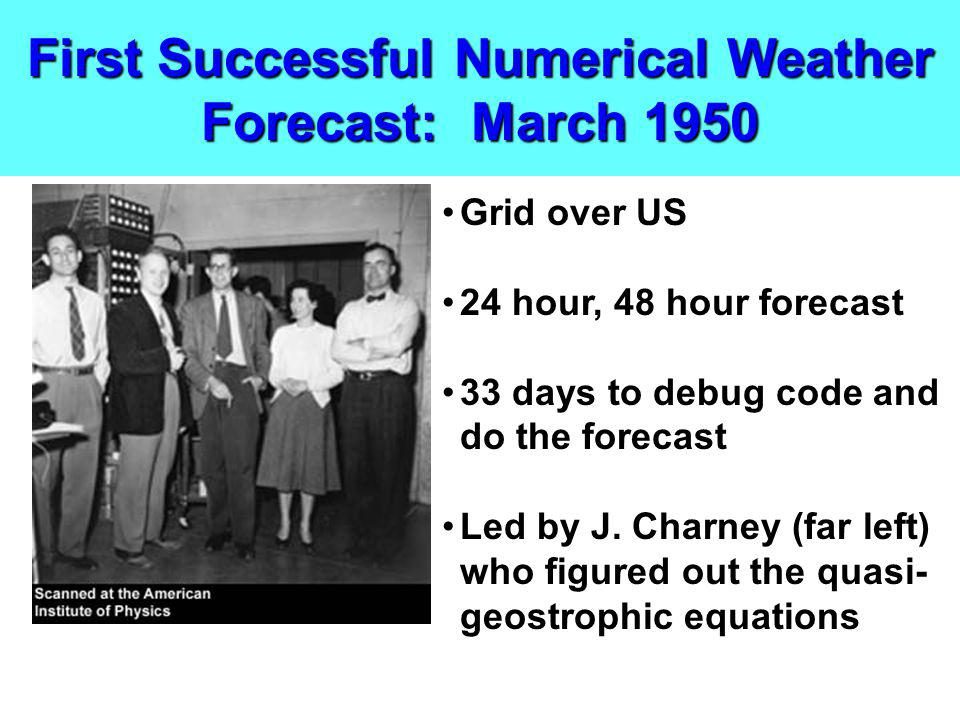 First Successful Numerical Weather Forecast: March 1950