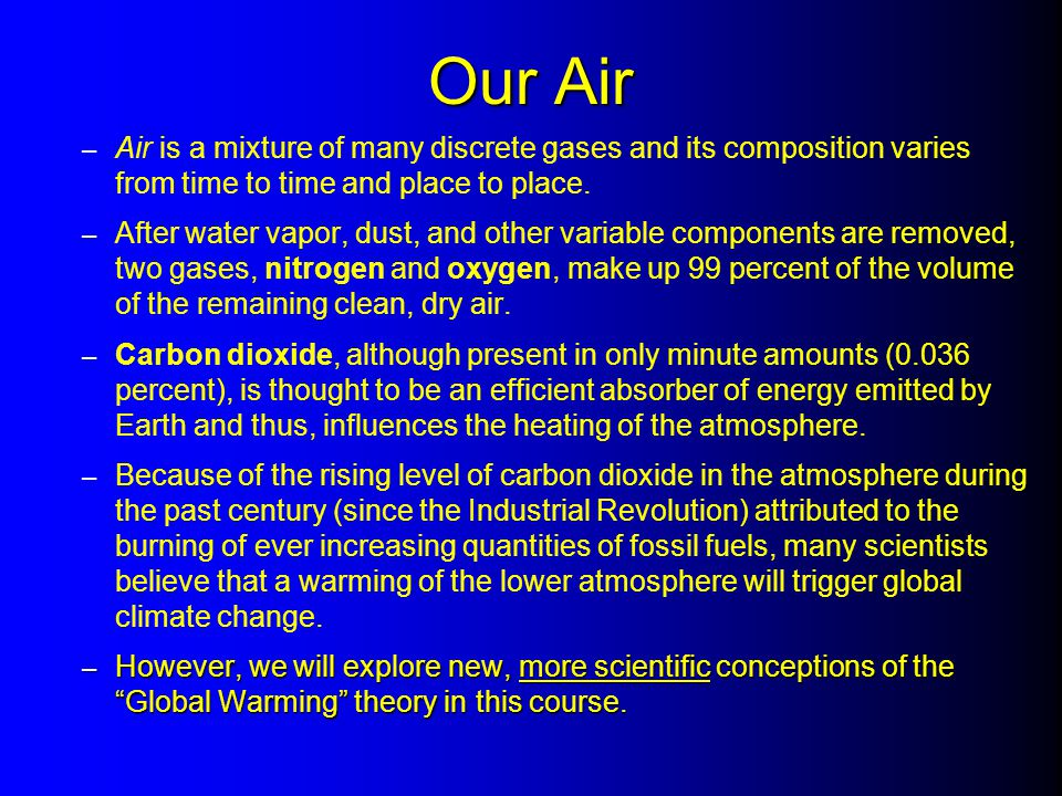 Our Air Air is a mixture of many discrete gases and its composition varies from time to time and place to place.