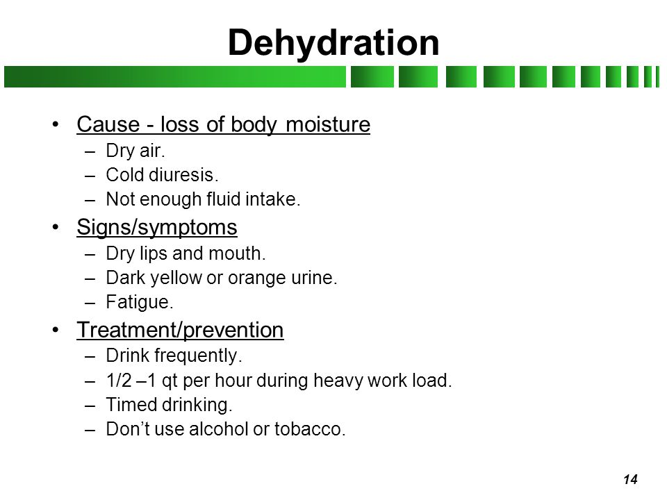 Dehydration Cause - loss of body moisture Signs/symptoms