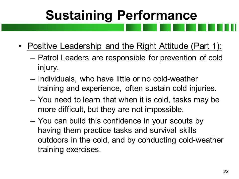 Sustaining Performance