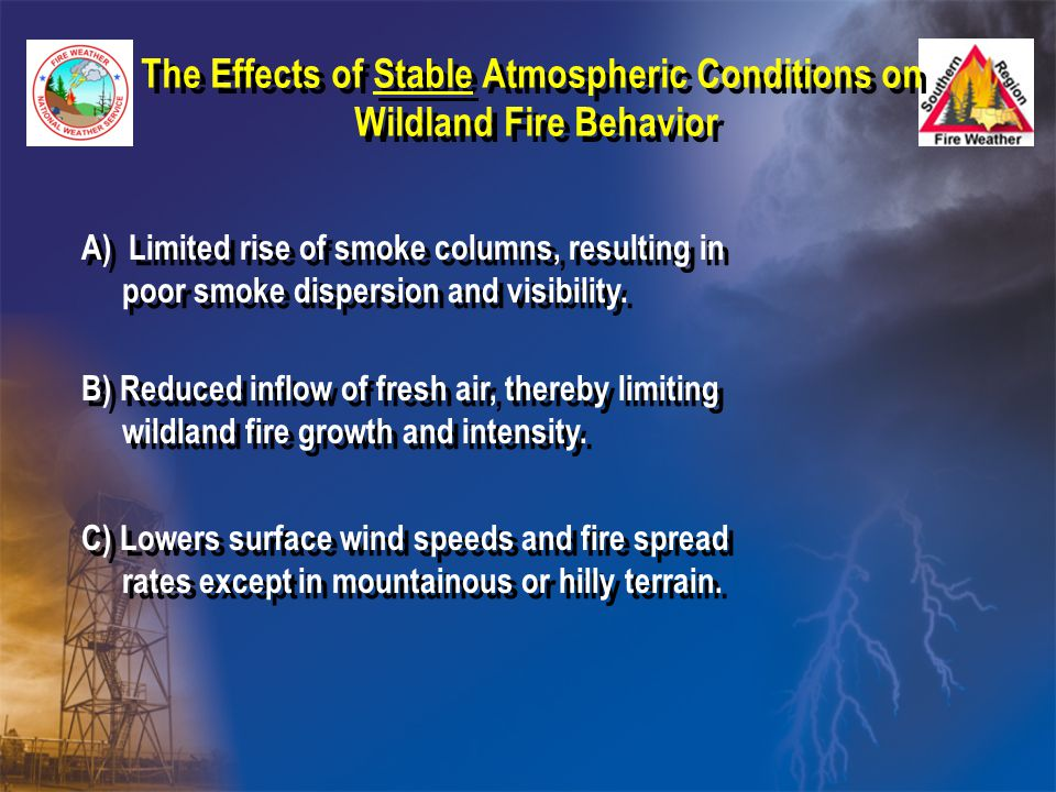 The Effects of Stable Atmospheric Conditions on Wildland Fire Behavior