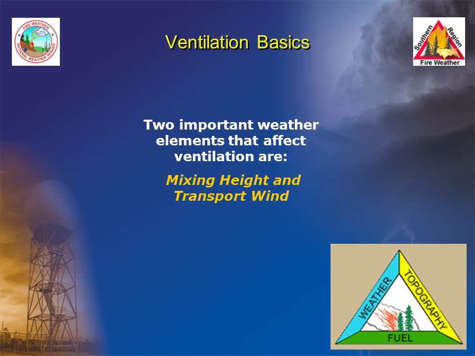 Ventilation Basics Two important weather elements that affect ventilation are: Mixing Height and Transport Wind.