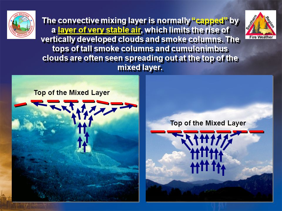 The convective mixing layer is normally capped by a layer of very stable air, which limits the rise of vertically developed clouds and smoke columns. The tops of tall smoke columns and cumulonimbus clouds are often seen spreading out at the top of the mixed layer.