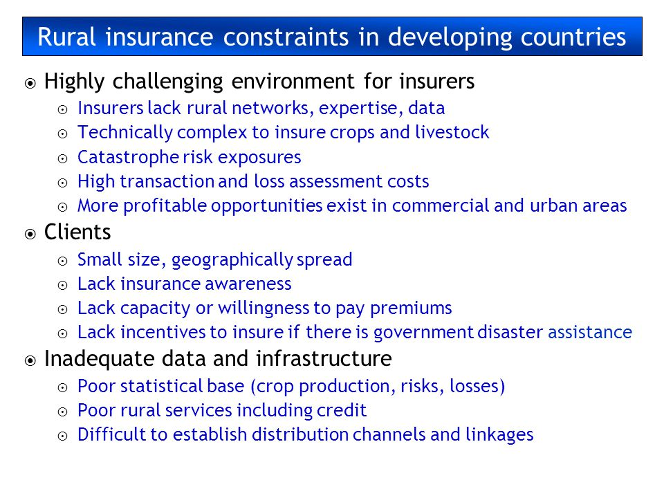 Rural insurance constraints in developing countries