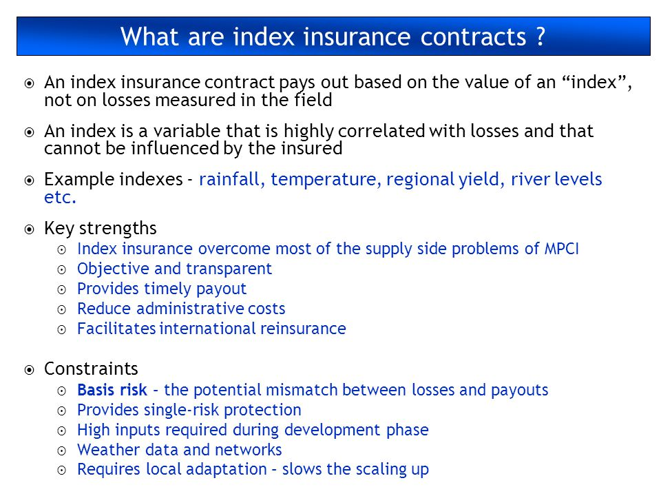 What are index insurance contracts