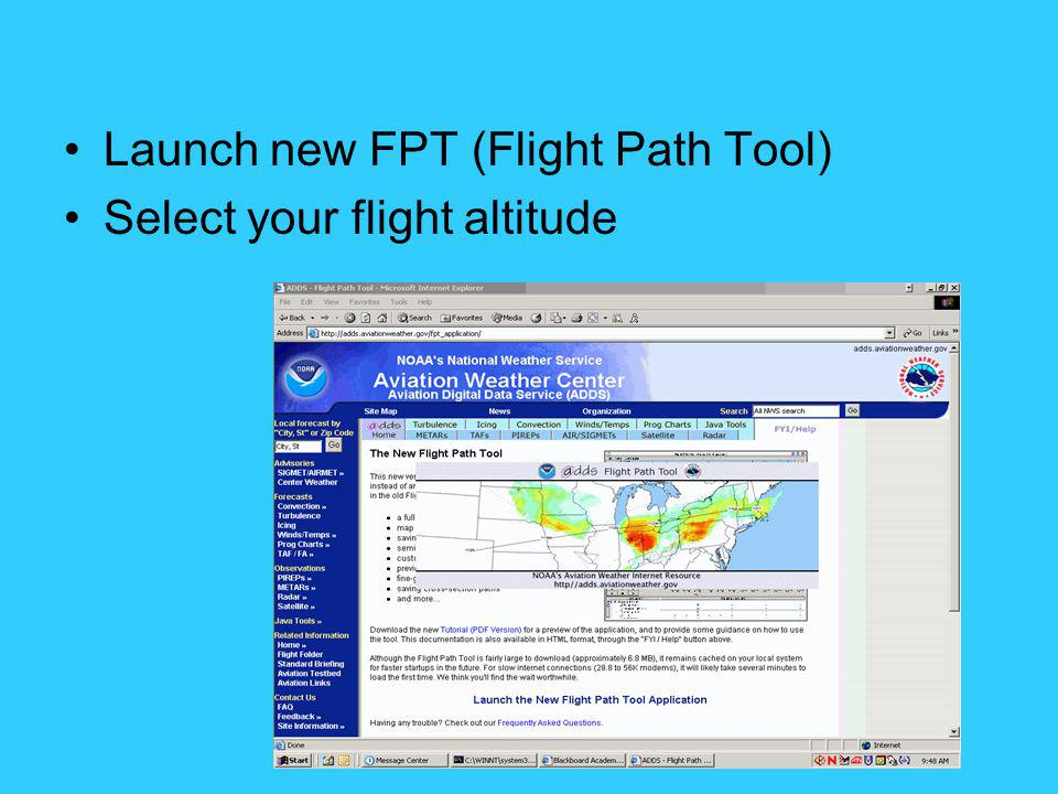 Launch new FPT (Flight Path Tool)