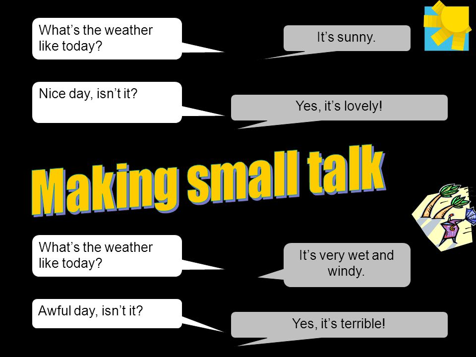 Making small talk What's the weather like today It's sunny.