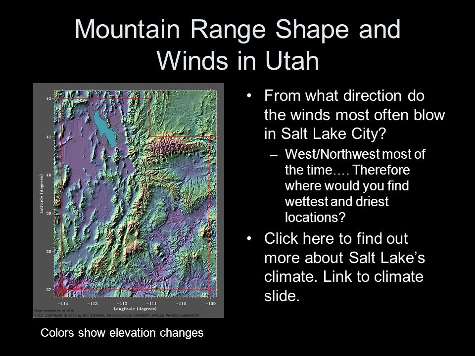 Mountain Range Shape and Winds in Utah